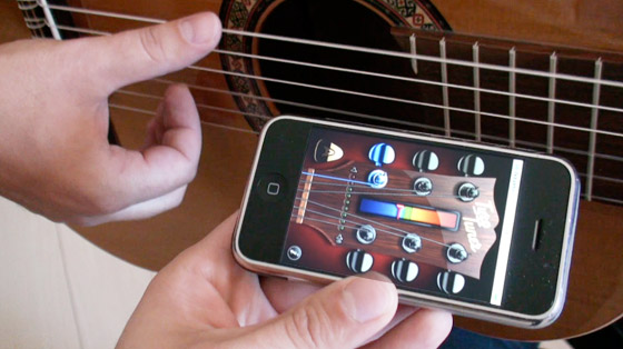 настойка гитары с помощью телефона